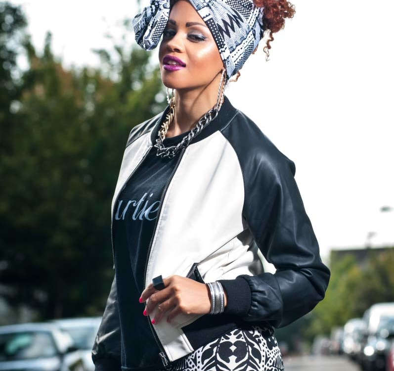 Monochrome Cool: Tribal Print Leggings & Bomber Jacket