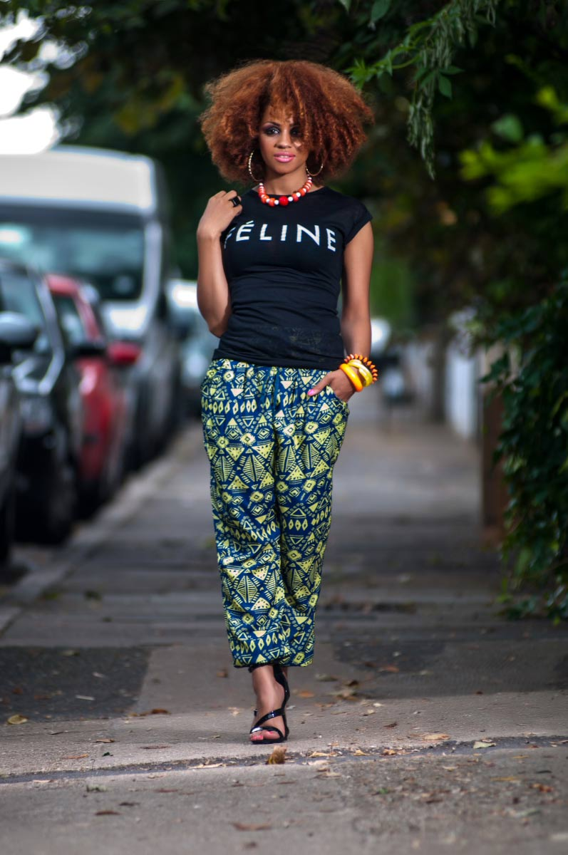 Black t shirt outfit - Tribal Print Trousers With Slogan Black T Shirt