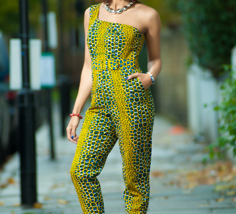 Mam-Maw: Ngozi One Shoulder African Print Jumpsuit